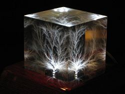 Cube lit by LM2699 Rosewood LED light base
